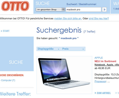 Macbook Pro im Otto Onlineshop
