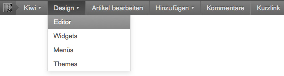 Screenshot: Editor-Link für WordPress Admin-Bar